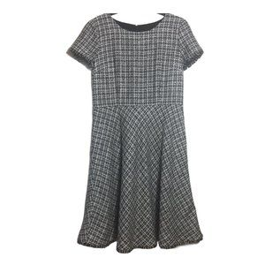 Talbot Black White Tweed Fringe Hem A Line Dress